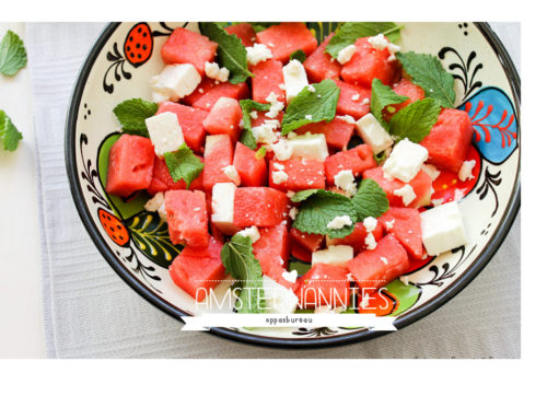 Watermeloen salade met feta en munt!